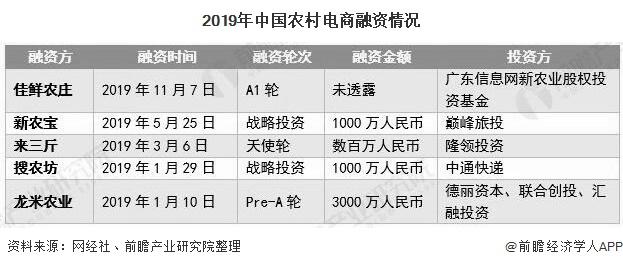 2019年中国农村电商融资情况