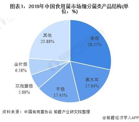 图表1:2019年中国食用菌市场细分菌类产品结构(单位:%)