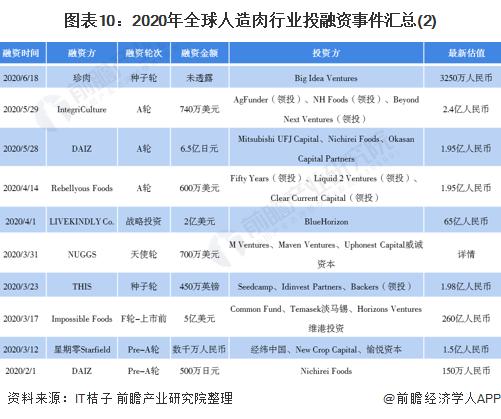 图表10:2020年全球人造肉行业投融资事件汇总(2)
