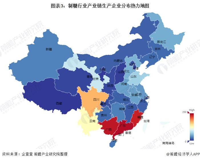 图表3:制糖行业产业链生产企业分布热力地图