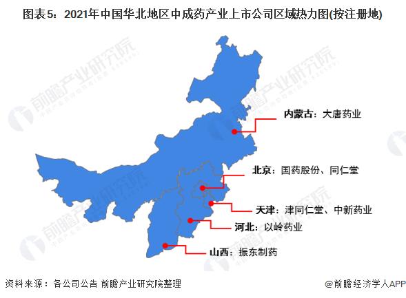 图表5:2021年中国华北地区中成药产业上市公司区域热力图(按注册地)