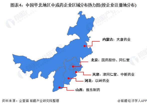 图表4:中国华北地区中成药企业区域分布热力图(按企业注册地分布)