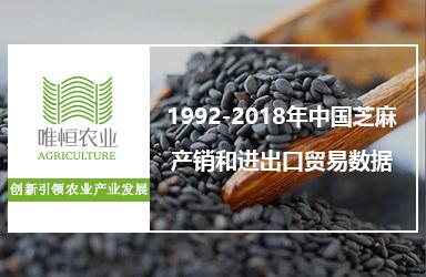 1992-2018年中国芝麻产销和进出口贸易数据