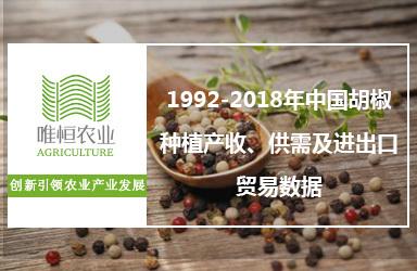 1992-2018年中国胡椒种植产收、供需及进出口贸易数据