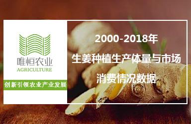 2000-2018年生姜种植生产体量与市场消费情况数据