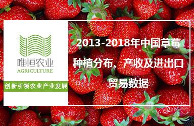 2013-2018年中国草莓种植分布、产收及进出口贸易数据