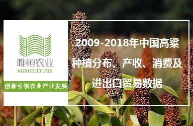 2009-2018年中国高粱种植分布、产收、消费及进出口贸易数据