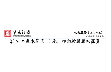 《华安证券:牧原股份(002714)Q3完全成本降至15元,拟向控股股东募资》